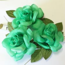 Pack of 3 Vintage Emerald Green Fabric Roses